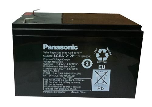 Panasonic LC-RA1212P1 Black Large 12V 12Ah VRLA Battery with F2 Terminal