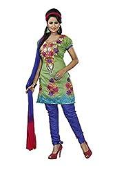 Khazana Women's Chanderi Unstitched Dress Material (khazana-75-ch-06_Green_Free Size)