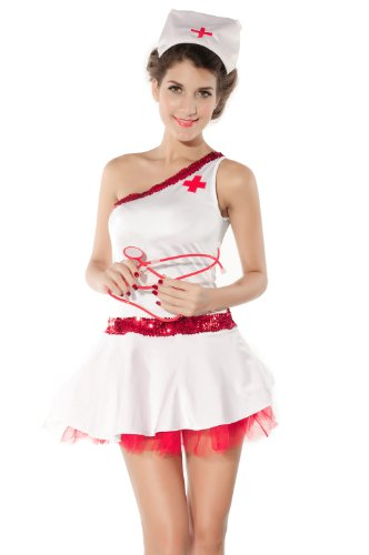 WenMei Women's Sexy Naughty White Angels Nurse Costume Cosplay Adult Outfit S/M