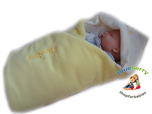 Blueberry Luxurious Very Warm Fleece Swaddle Wrap Blanket Sleeping Bag Birthday Gift Present Yellow