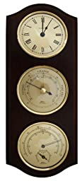 Ambient Weather 9176U-22 Fischer Weather Center with Temperature and Humidity Roman Numeral Quartz Clock/Barometer