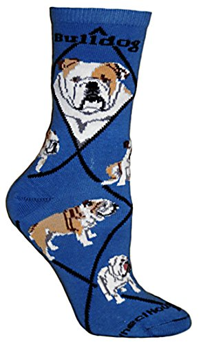 English Bulldog Blue Ultra Lightweight Adult Cotton Crew Sock (Bulldog Blues compare prices)