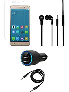 Tempered Glass Screen Guard Car Charger Headphone combo for Redmi Note 3