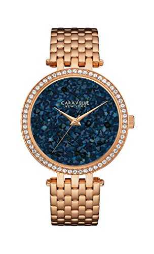 Caravelle New York Crystal Women's Quartz Watch with Blue Dial Analogue Display and Rose Gold Bracelet 44L186