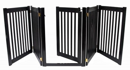 Dynamic Accents Walk Through 5 Panel Free Standing Wooden Pet Barrier / Gate - Black