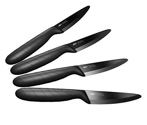 Slice 10710 4-Piece Steak Knife Set, High Carbon Stainless Steel, 4-Inch, Black Titanium (Non-Stick) (Carbon Coated Knife compare prices)