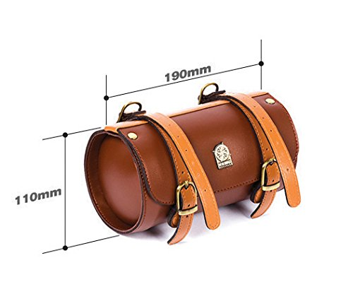 Comfortable Soft Vintage Bicycle Saddle Tail Handlebar Tools Bag, Cylindrical, Handmade 3