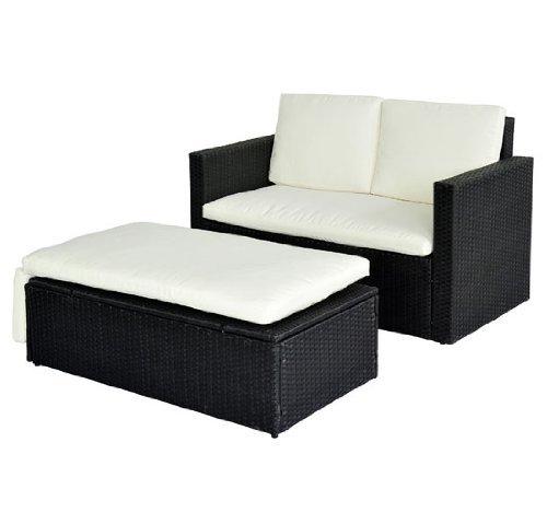 homcom Gartenmöbel Polyrattan 6-er teilig Rattan Gartenset Lounge Sitzgruppe Doppelsofa Loungemöbel Garnitur inklusive Kissen, schwarz