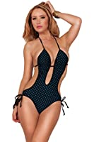 Hot from Hollywood Women's Polka Dot Halter Deep V-Neck Swimsuit(1 Piece)