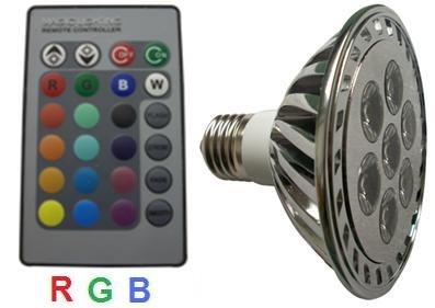 Glb Par30 7 Watt Rgb Led Bulb Spotlight With Remote Control, Multi Color 16 Color Choices