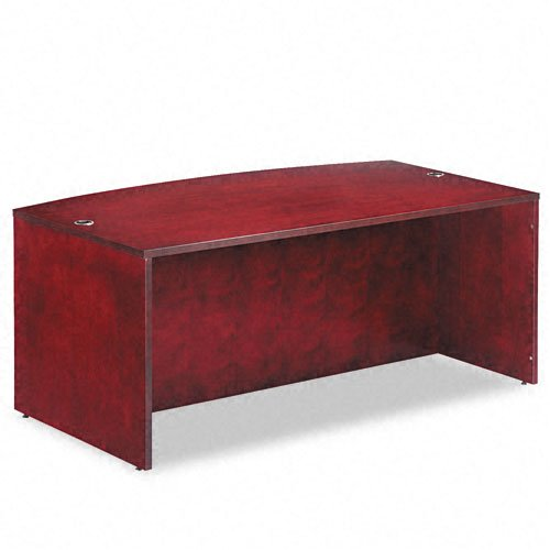 Alera Products - Alera - Verona Veneer Series Bow Front Desk Shell, 71w x 42d x 29-1/2h, Mahogany - Sold As 1 Each - Combining veneer elegance with modular format versatility. - Premium-grade veneers and solid woods are fine finished, with durability suited to everyday commercial applications. - Conference overhang with full-length modesty panel. - Solid wood edge with a reeded profile. - Two grommet holes for cable and wire management.
