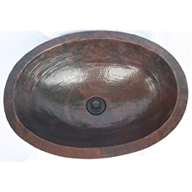 "SimplyCopper 19"" Oval Copper Undermount Bathroom Sink with Lift and Turn Drain"