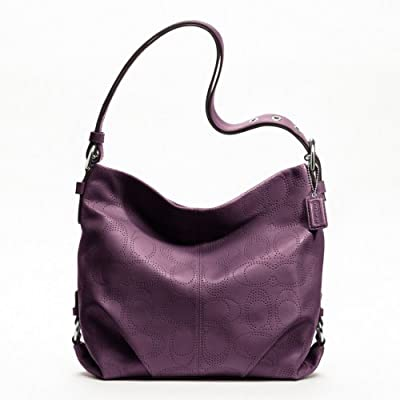 Coach Perforated Leather Handbag Duffle Purse in Plum Purple F19407