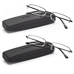 DoubleTake 2 Pairs of Classic Spring Hinged Stainless Steel Reading Glasses w/ Slim Portable Hard Case for Men and Women