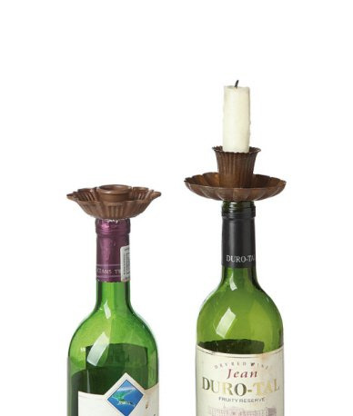 Metal Flower Candle Taper Holders & Bottle Stoppers, Rust Color 2Pk front-429873