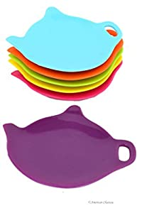 Set of 6 Assorted Color Silicone Teapot Teabag Holder Tea Bag Plate