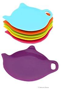 Set of 6 Assorted Color Silicone Teapot Teabag Holder Tea Bag Plate