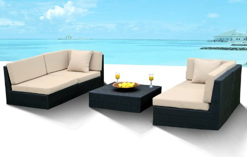 5 Pc Outdoor Patio and Pool All Weather Wicker Resin Sofa Sectional Set Furniture