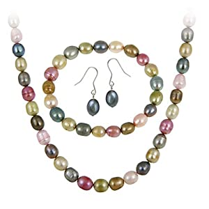Sterling Silver Freshwater Cultered Multi Color Pearl Necklace, Bracelet, Earring Jewelry Set
