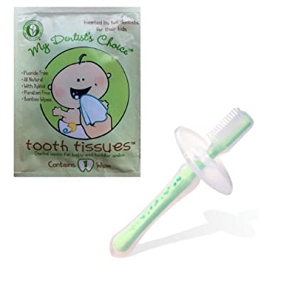 Razbaby Silicone Toothbrush (Green or Blue) with **BONUS** Tooth Tissue from RazBaby