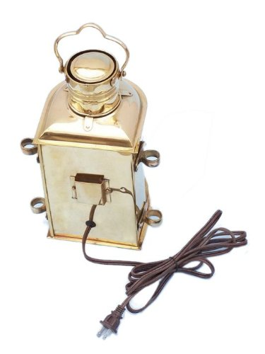 """Handcrafted Nautical Decor Solid Brass Masthead Electric Lamp, 12"""", Brass"""