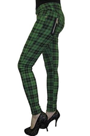 Banned TBN405 Jeans GREEN TARTAN 26 [Apparel]