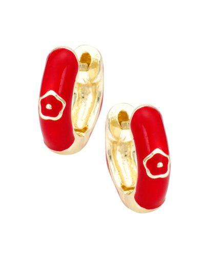 Junior Jewels 18K Gold Overlay Red Enamel Huggie Earrings