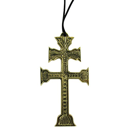 Large-Bronze-Embossed-Double-Cross-of-Lorraine-Necklace-SteampunkGothic-Jewelry
