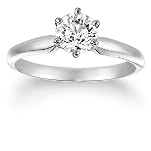 14K White Gold Certified Solitaire Engagement Ring with a 10.07 Carat EGL USA Certified I Color SI2 Clarity Round Cut Diamond (10.07 cttw) (Sizes 4-11 Available)