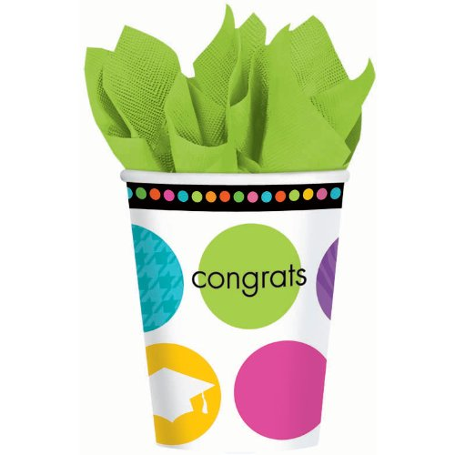 Colorful Commencement Graduation 9 oz. Paper Cups (18)