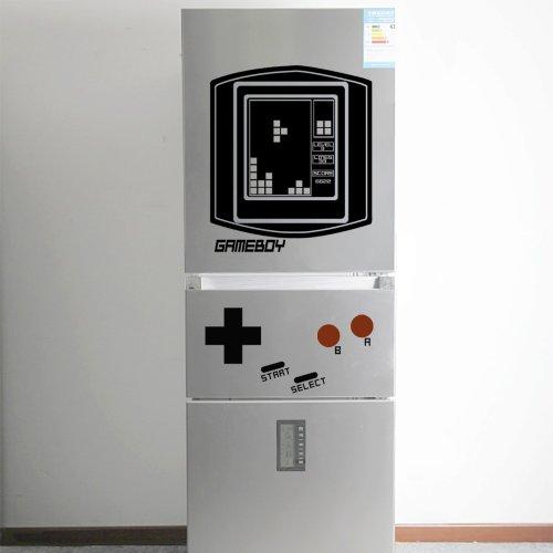 GECKOO Retro Falling Blocks Fridge Boy (Game Boy)-Teen Room Vinyl Playroom Game Wall Decal Tetris Wall Art (X-Large, D: Screen, Controller button, Letters - Black; Round button - Dark Red)