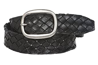 """Womens 1 1/2"""" (38 mm) Snap On Oval Braided Woven Oil Tanned Leather Belt Size: L/XL - 40"""" Color: Black"""