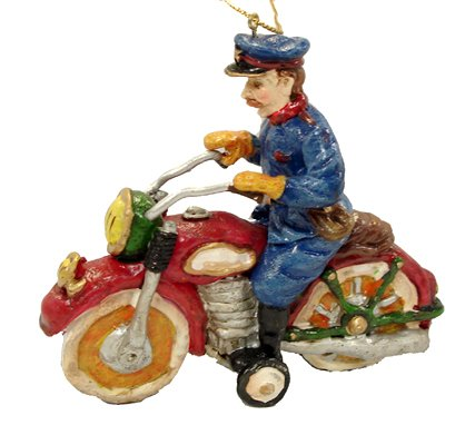 4&#8243; Policeman On Motorcycle Vintage Style Christmas Ornament
