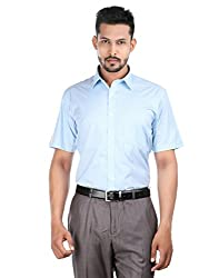 Oxemberg Men's Checkered Formal Cotton Poly Aqua Shirt