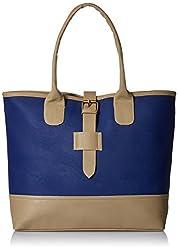 AlessiaWomen's Handbag (Blue and Beige) (TY016E)