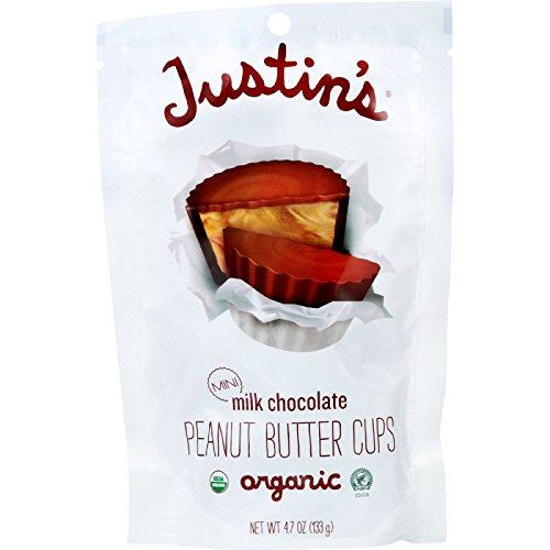 Justins Nut Butter Peanut Butter Cup - Organic - Milk Chocolate - Mini - 4.7 oz - case of 6 - 95%+ Organic - Gluten Free -