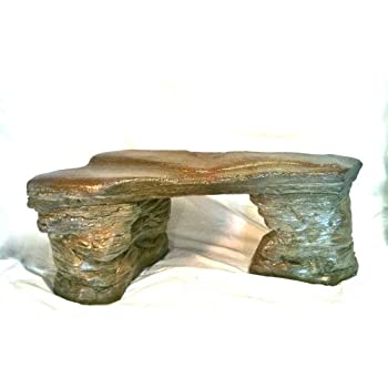 "Cast Stone Petrified Rock Bench, ""Outdoor Garden patio Bench"" 3 Piece Hand Sculpted Rustic Garden Bench Outdoor Decor"
