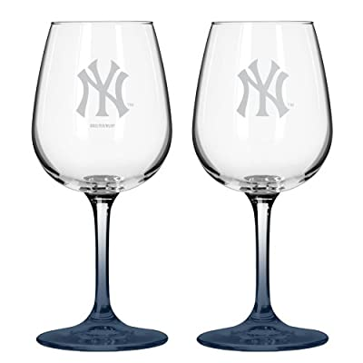 MLB Satin Etch 2-Ounce Wine Glass (Pack of 2)