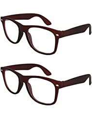 Sheomy Unisex Combo Pack Of Transparent Brown Wayfarer Sunglasses And Transparent Brown Wayfarer Sunglasses For...