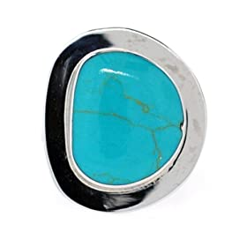 Sterling Silver Irregular-Shaped Turquoise Inlay Ring