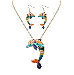 Charms Dolphin Silver and Gold Dangle Earrings and Necklace Jewelry Sets for Teen Girls Women (Gold)