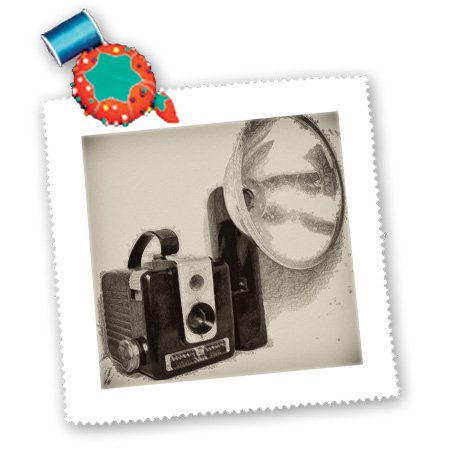 3Drose Qs_20728_2 Picture Of A Vintage 1950S Camera With Bulb Flash Quilt Square, 6 By 6-Inch