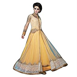Justkartit Women's Semi-Stitched Yellow Colour Jacket Style Floor Length Wedding Wear Gown / Long Anarkali Style Gown For Ceremony Wear / Stylish Gown For Wedding (Indian Ethnic Wear 2016 Collection)