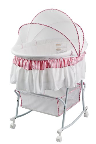 Dream On Me Lacy Protable 2 in 1 Bassinet and Cradle, Pink/White