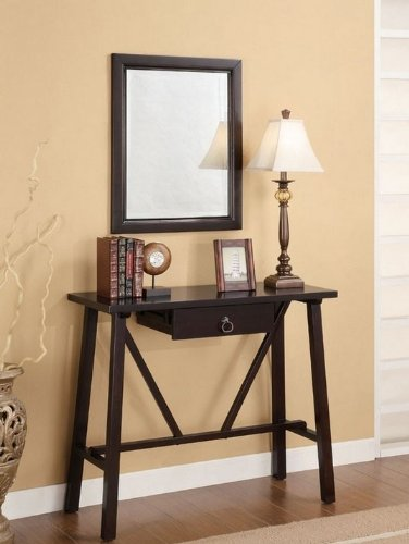 Cheap 3pc Entry Way Console Table, Mirror and lamp Set in Cappuccino Finish (VF_900160)