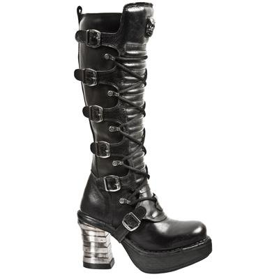 New Rock Metallic Platform Boots Women - Black - Euro 36 / UK 3.5