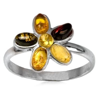 Baltic Multicolor Amber Sterling Silver Cinquefoil Flower Ring