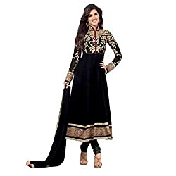 RajLaxmi Women's Fashion Black Georgette Dress Material