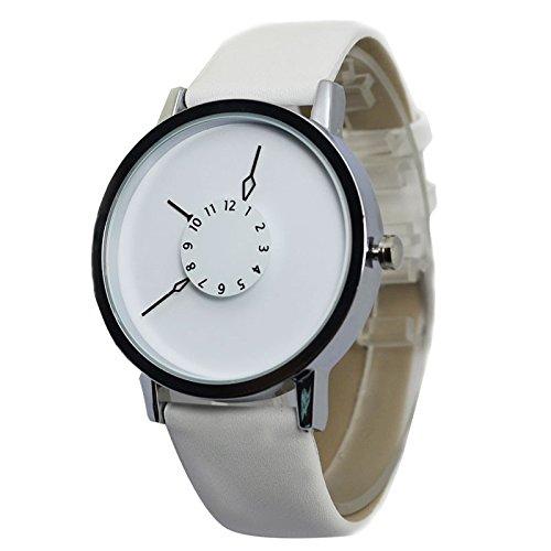 ZooooM シンプル 腕時計 ファッション アクセサリー 内側 針 おもしろ カジュアル 男女兼用 (ホワイト) ZM-SINDOKEI-WH