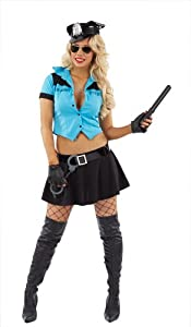 Sexy Cop Police Lady Women Costume Police Women Dress Police Role Play Cosplay Uniform Naughty Police Officer Outfit Women Fancy Dress for Halloween Party Included Dress / Cap / Badge / Belt / Handcuffs (UK 14/16).
